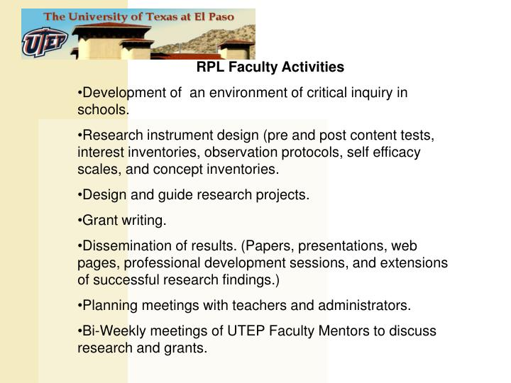 RPL Faculty Activities