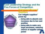 cost leadership strategy and the five forces of competition2