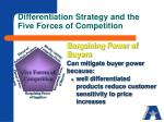 differentiation strategy and the five forces of competition1