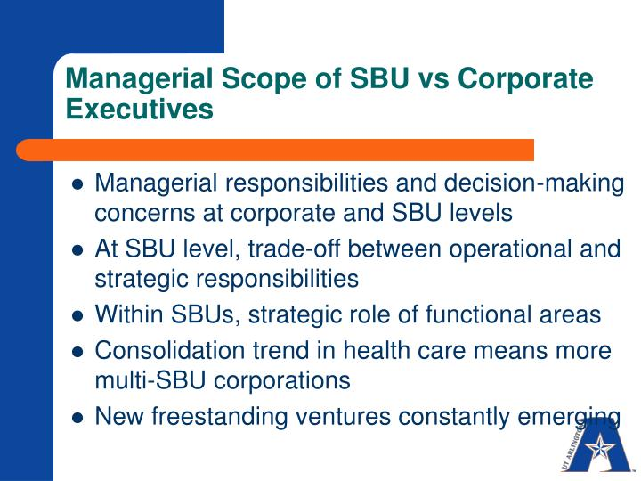 Managerial scope of sbu vs corporate executives