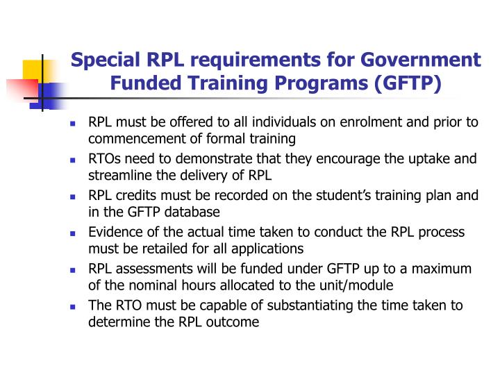 Special RPL requirements for Government Funded Training Programs (GFTP)