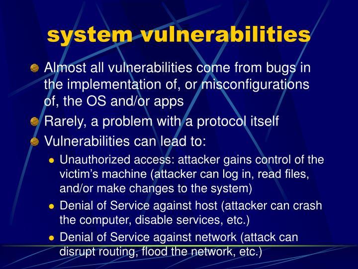 system vulnerabilities