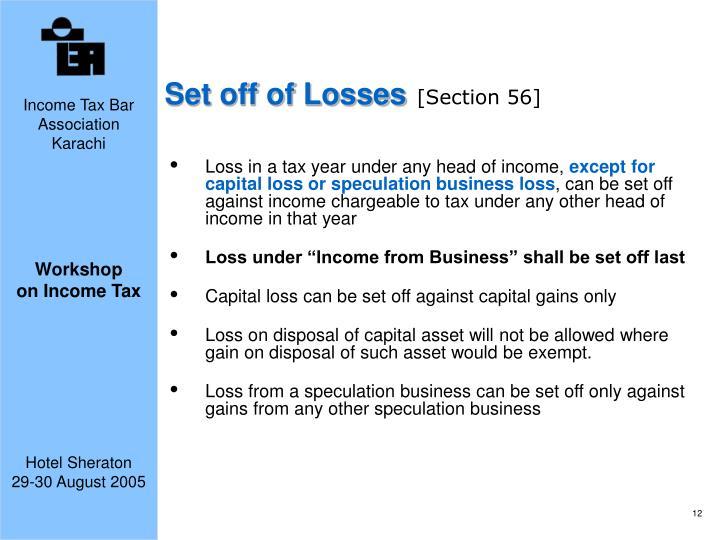Set off of Losses
