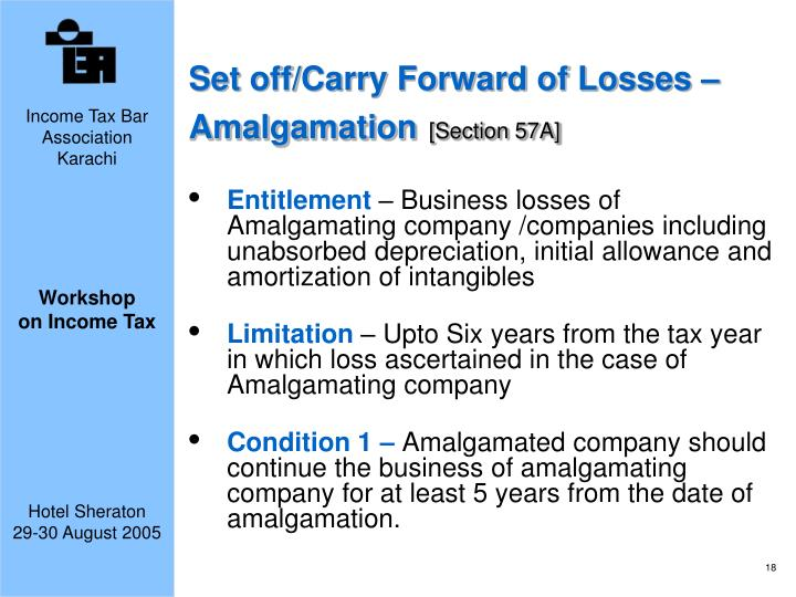 Set off/Carry Forward of Losses – Amalgamation