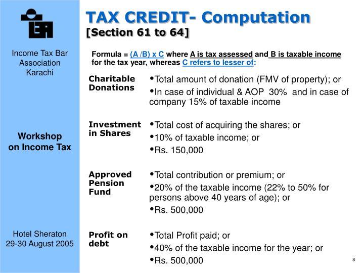 TAX CREDIT- Computation