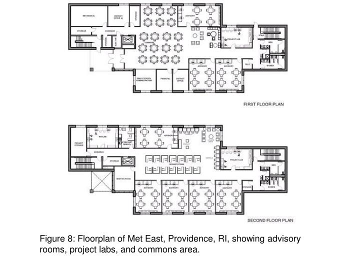 Figure 8: Floorplan of Met East, Providence, RI, showing advisory rooms, project labs, and commons area.