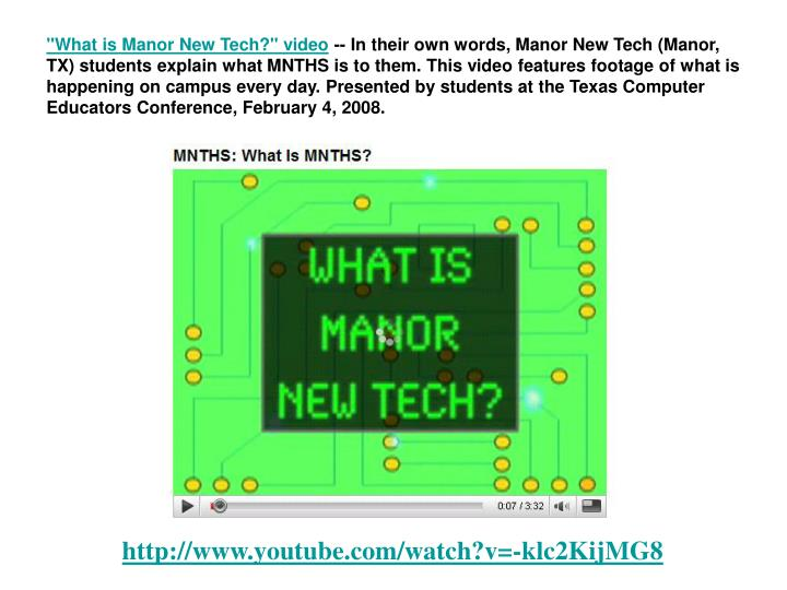 """""""What is Manor New Tech?"""" video"""