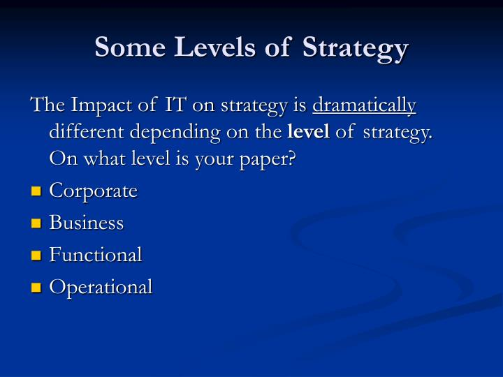 Some Levels of Strategy