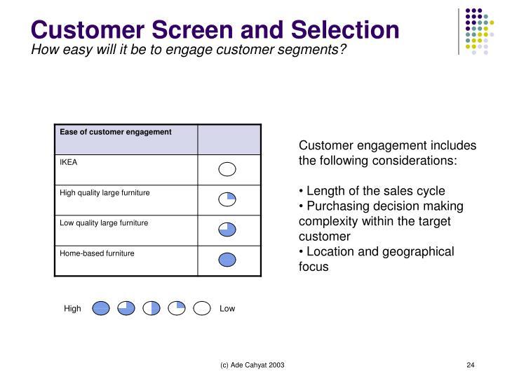 Customer Screen and Selection