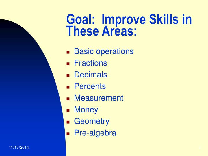 Goal:  Improve Skills in These Areas: