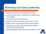 achieving low cost leadership