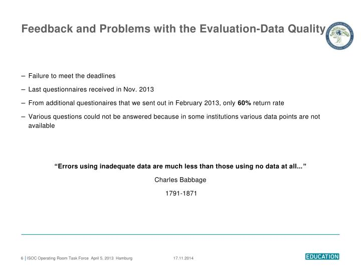 Feedback and Problems with the Evaluation-Data