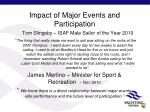 impact of major events and participation