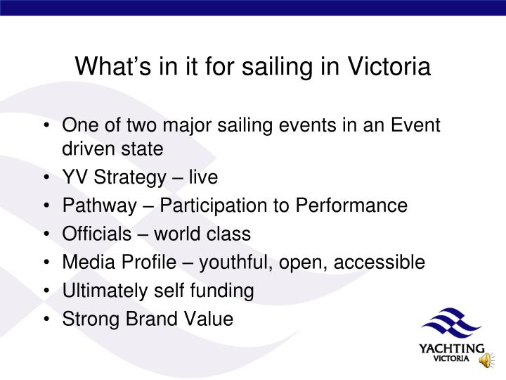 What's in it for sailing in Victoria