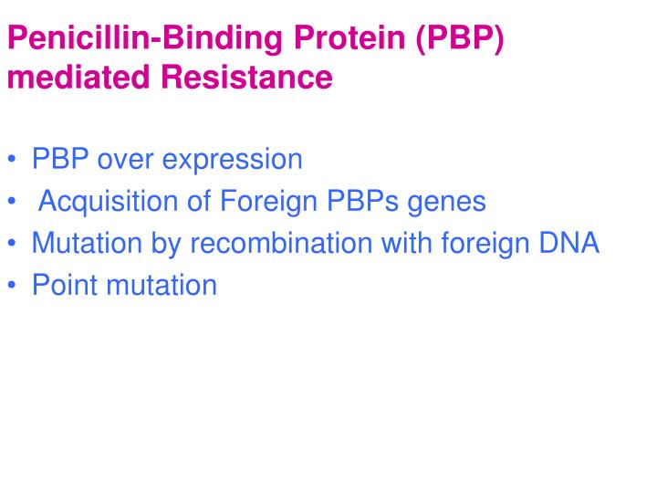 Penicillin-Binding Protein (PBP) mediated Resistance