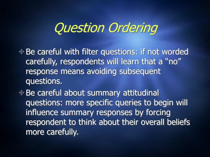 Question Ordering