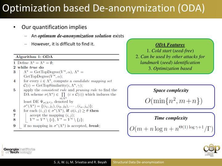 Optimization based De-anonymization (ODA)