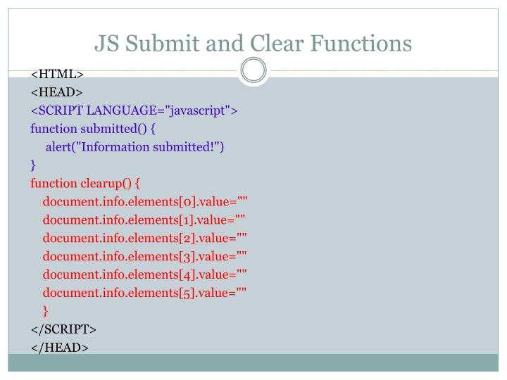 JS Submit and Clear Functions