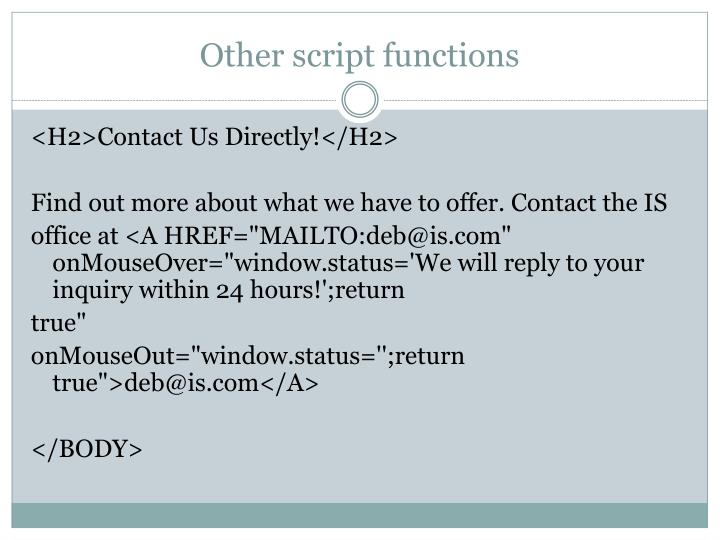Other script functions