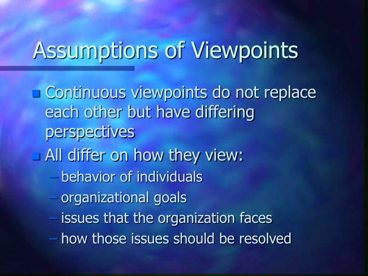 Assumptions of Viewpoints