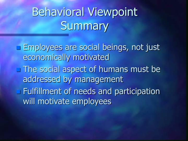 Behavioral Viewpoint Summary