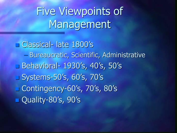 Five Viewpoints of Management