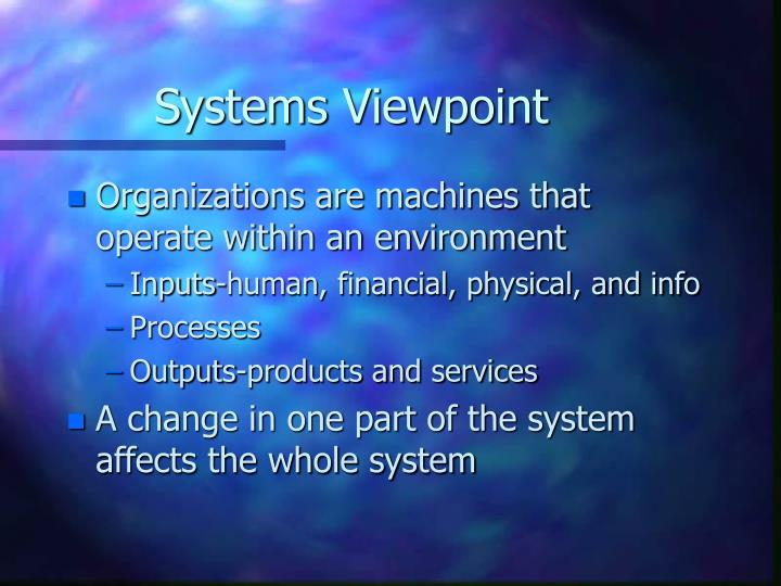 Systems Viewpoint