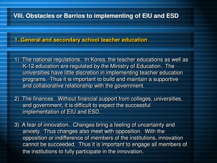 1. General and secondary school teacher education