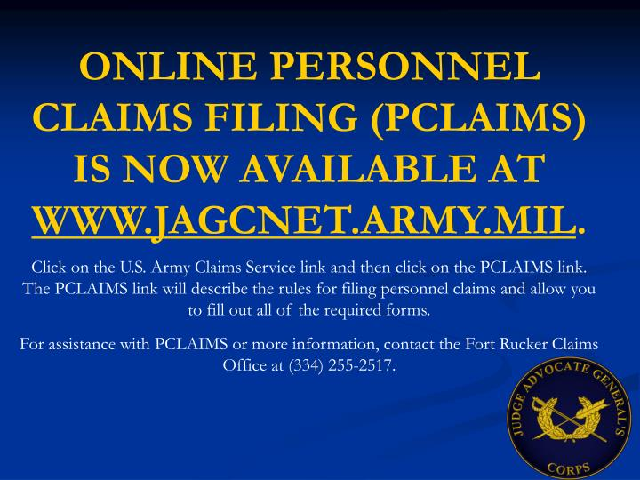 ONLINE PERSONNEL CLAIMS FILING (PCLAIMS) IS NOW AVAILABLE AT