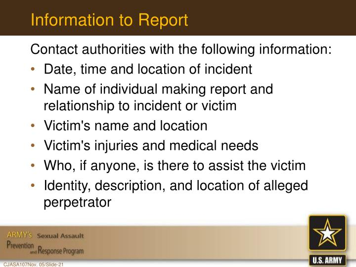 Information to Report