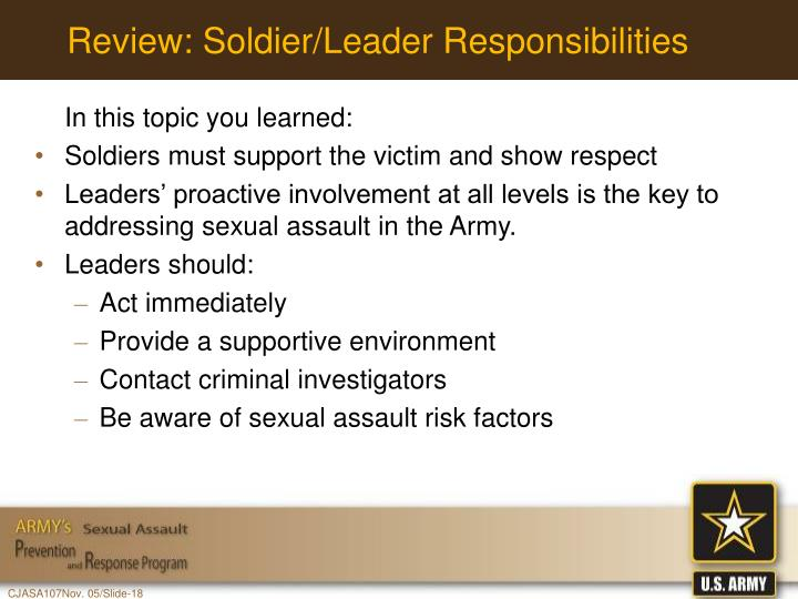 Review: Soldier/Leader Responsibilities
