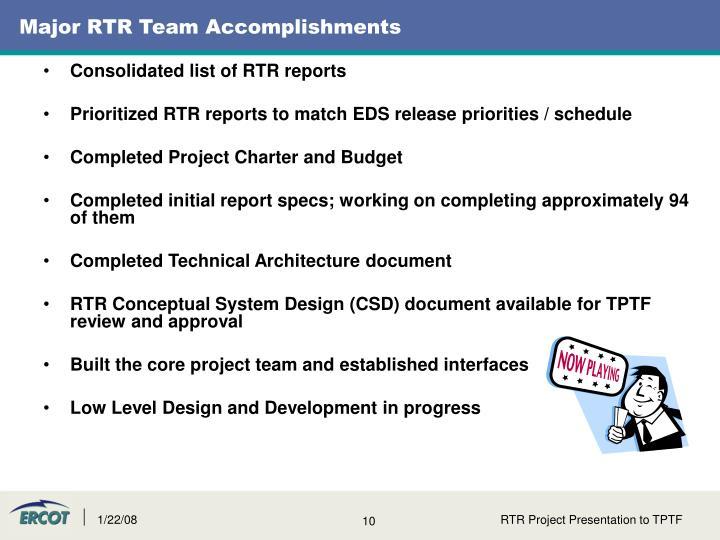 Major RTR Team Accomplishments