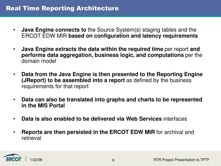 Real Time Reporting Architecture