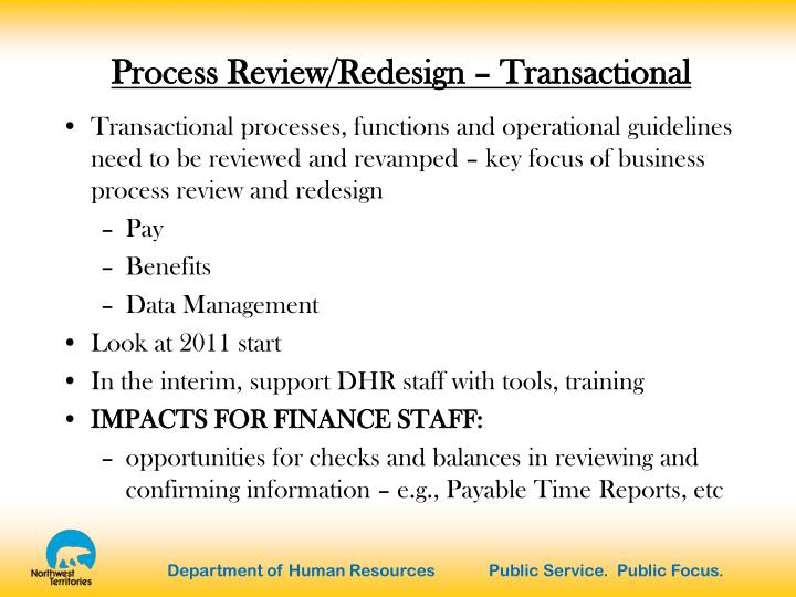Process Review/Redesign – Transactional
