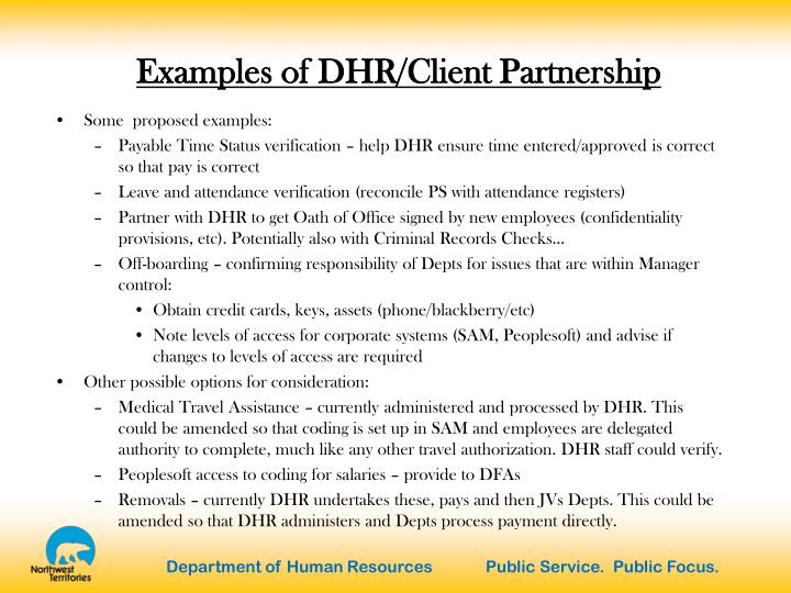 Examples of DHR/Client Partnership