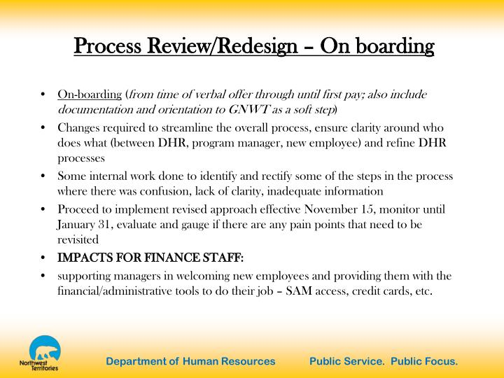 Process Review/Redesign – On boarding