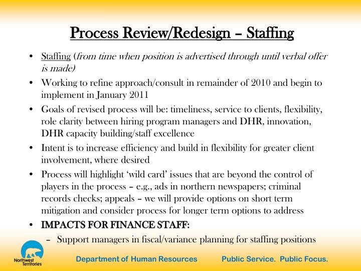 Process Review/Redesign – Staffing