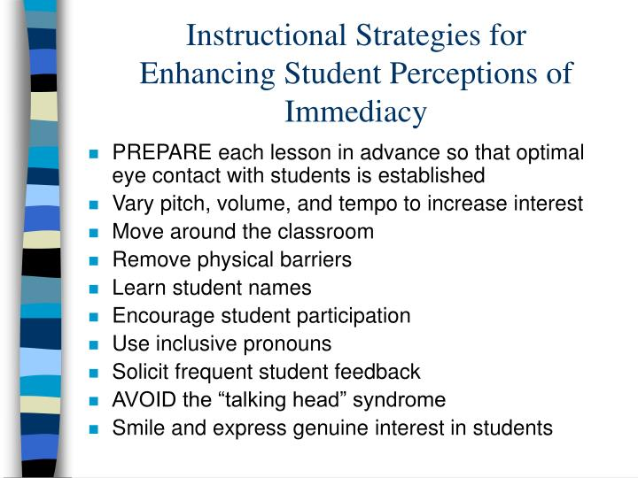Instructional Strategies for Enhancing Student Perceptions of Immediacy