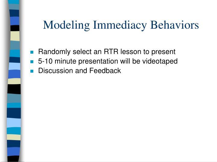 Modeling Immediacy Behaviors