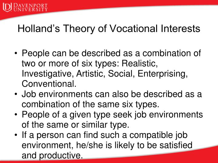 People can be described as a combination of two or more of six types: Realistic, Investigative, Artistic, Social, Enterprising, Conventional.