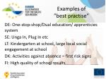 examples of best practise