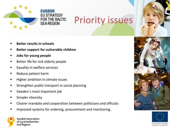Priority issues 2013