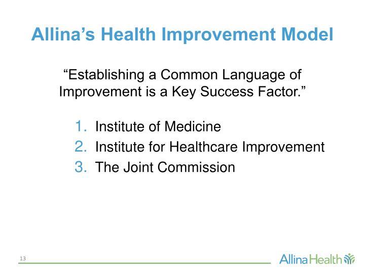 Allina's Health Improvement Model