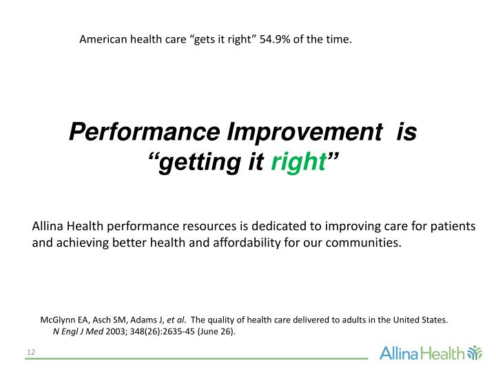 """American health care """"gets it right"""" 54.9% of the time."""