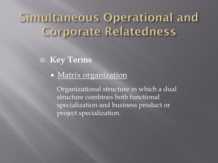 Simultaneous Operational