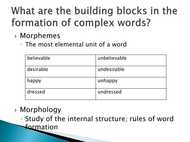 What are the building blocks in the formation of complex words