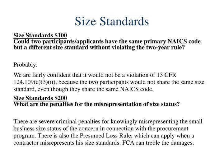 Size Standards