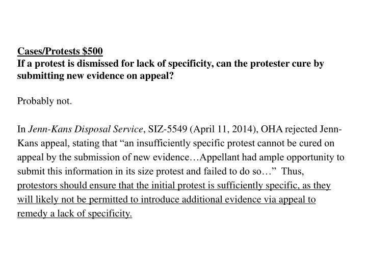 Cases/Protests $500