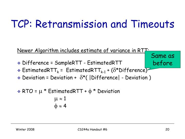 TCP: Retransmission and Timeouts