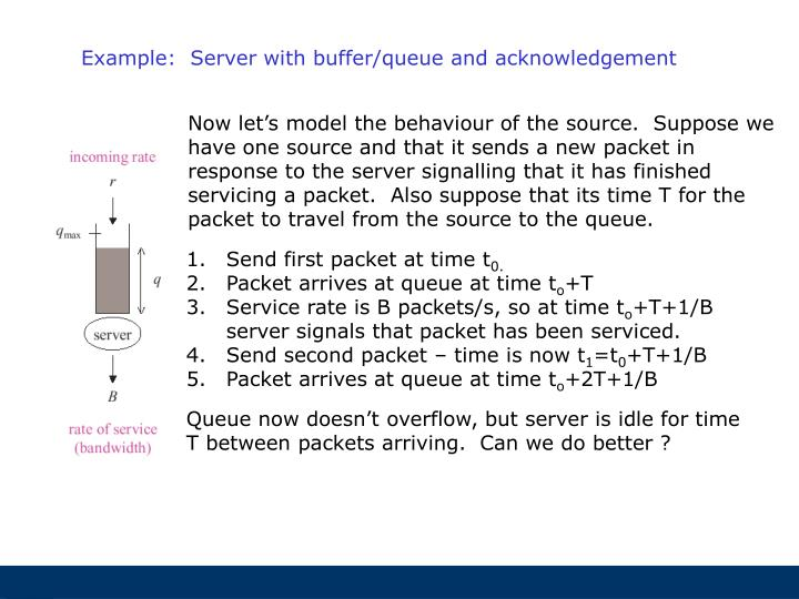 Example:  Server with buffer/queue and acknowledgement